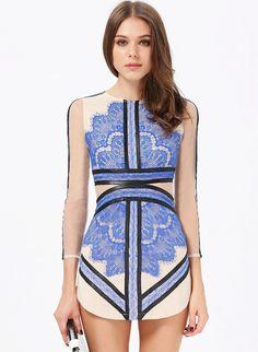 Blue Long Sleeve Contrast Eyelash Lace Mesh Pencil Dress