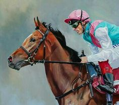 Enable and Frankie Dettori (detail) Oil on board, 19 x 25 inches Clydesdale Horses, Thoroughbred Horse, Breyer Horses, Horse Racing Uk, Barrel Racing Horses, Irish Racing, Show Horses, Race Horses, Race Horse Breeds