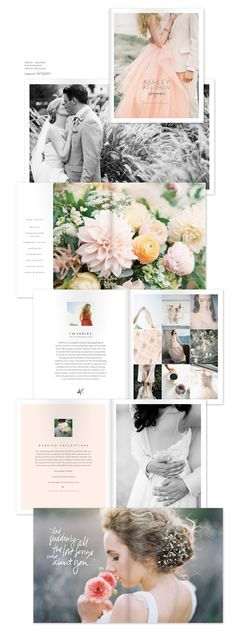 """LOVE collage style layout on right page spread. LOVE quotes on photos, and enjoy """"about me"""" page layout. Wedding Booklet, Wedding Brochure, Wedding Album, Booklet Design, Brochure Design, Magazine Layouts, Magazine Design, Editorial Layout, Editorial Design"""