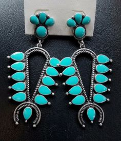 Cowgirl Gypsy turquoise  Squash blossom EARRINGS  Southwestern Rodeo western  #Unbranded #earrings