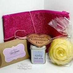 Valentine's Day Gift Set * Spa Gift Set * Bubbling Bath Salts * Bath Tea * Rose Massage Bar * Sparkle Bag * Glitter Cosmetic Bag * Girl Gift