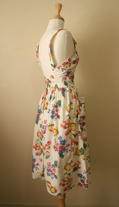 1940s 1950s Floral Fruity Pinafore Cotton Sun by pearlarchive, $110.00