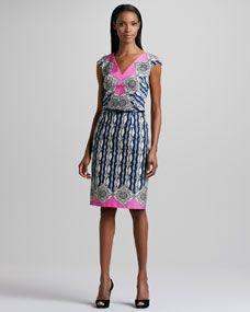 Geometric-Print Belted Dress