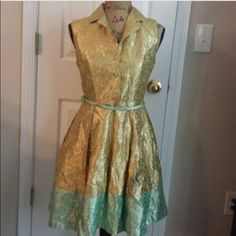 Duro Olowu Gold and Mint Dress! Beautiful gold and mint color dress! So flattering and one of a kind! :D Duro Olowu Dresses Midi
