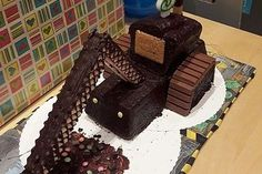 Excavator Bulldozer - cake for the kid's birthday - kuchen - Torten Bulldozer Cake, Food Menu, A Food, Digger Cake, Valentine's Day Drinks, Potato Waffles, Scones Ingredients, 3rd Birthday Cakes, Sweets
