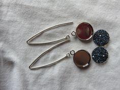 """Kit facile """"DIY"""" pour boucles d'oreilles pendantes crystal rock swarovski avec harpon 20mm bleu nuit : Kits, tutoriels bijoux par fais-le-toi-meme"""