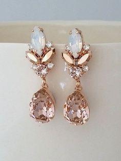 Blush chandelier earrings,Blush Bridal earrings,Morganite earrings,Bridal earrings,Vintage earrings,Swarovski earring,Bridal wedding jewelry by EldorTinaJewelry on Etsy | http://etsy.me/2khIUzY
