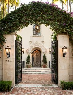 Gorgeous entry gate and front door/ lanterns, etc............