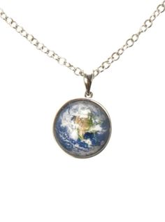 Silver tone chain necklace with circular metal & enamel Earth pendant.