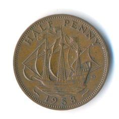 Elizabeth II Half Penny 1958 Vintage Coin by JMCVintagecards