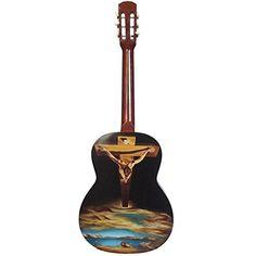 Spirito di legno-Classic guitarra personalizada con pintura al óleo-Dalì Crucifijo