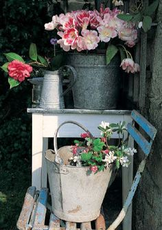 French jugs, buckets, bistro chair, roses
