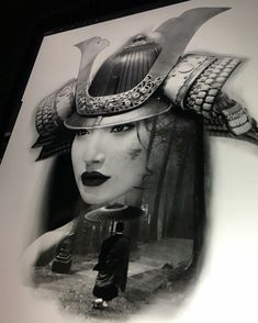 Female Samurai Tattoo, Samurai Mask Tattoo, Geisha Tattoo Design, Japan Tattoo Design, Japanese Geisha Tattoo, Japanese Tattoo Designs, Girl Face Tattoo, Mythology Tattoos, Asian Tattoos