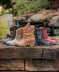 Find your perfect booties! Wearable year-round with shorts, jeans or a dress - a closet must-have. | http://www.countryoutfitter.com/booties/cowboy-boots/womens #booties