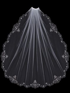 Beaded Embroidery Fingertip Length Wedding Veil V502SF - Affordable Elegance Bridal -