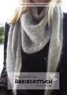 DIY Dreieckstuch aus Mohair Wolle selber stricken Knit a cozy, warm triangular scarf. Free knitting instructions for a triangular shawl Knitting Blogs, Knitting For Beginners, Knitting Socks, Free Knitting, Knitting Projects, Knitting Patterns, Crochet Penguin, Diy Jewelry To Sell, Diy Jewelry Tutorials