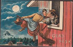 Stealing a kiss on the way to the witches' rendezvous...