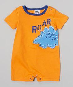 Orange 'Roar' Stegosaurus Romper - Infant | Daily deals for moms, babies and kids