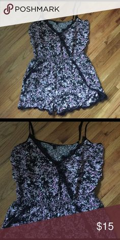 Floral lace romper Black lace romper with purple floral detail. In perfect condition. Purchased from a boutique Pants Jumpsuits & Rompers