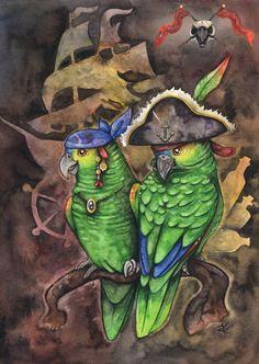 Parrots of the Caribbean by kiriOkami.deviantart.com on @deviantART