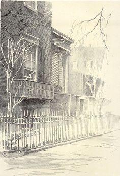 Original 1922 Print Details of House Washington Square North N.Y. by Eggers