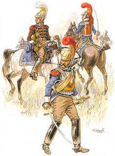 """""""Napoleon's Carabiniers. Campaign dress, 1813 - 1815"""":  • Trumpeter  • Carabinier  • Officier"""