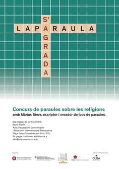"Josep Rom Tú lo ha guardado en Cartells, en Blanquerna / Disseny Gràfic Poster ""La paraula s'agrada"". Blanquerna Observatory. 2017 #design #university #Blanquerna"