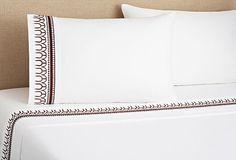 Sahelia, Addis Sheet Set, White/Coffee 400-thread-count Egyptian cotton percale  279 - orig. 763