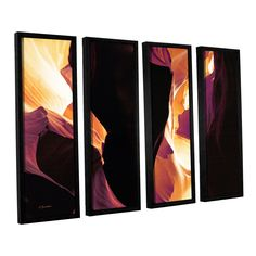 Slot Canyon Light From Above 1 by Linda Parker 4 Piece Floater Framed Photographic Print on Canvas Set