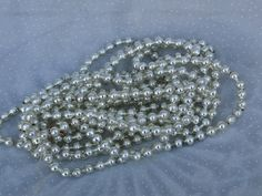 160 Inch Silver Glass Mercury Bead Garland for Your Christmas Tree, Vintage Japan Made