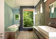 Bathroom at Forest House, Great Falls, Virginia by Kube Architecture