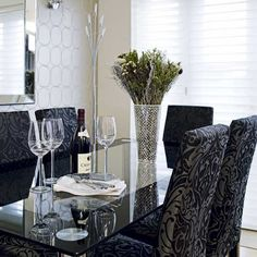 black and gray damask parsons chairs