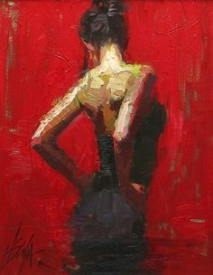 Woman in a black dress http://pixshark.com/paintings-of-women-in-red-dresses.htm