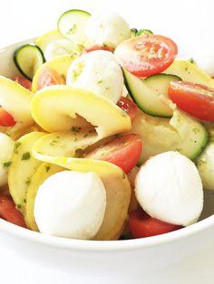 Zucchini Noodle & Mozzarella Salad with Lemon Basil Vinaigrette — The Skinny…