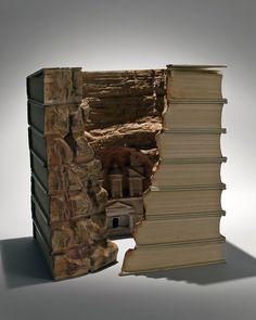 Guy Laramee from Canada creates increadible sculptures from old books. Rather the material for the art works are old dictionaries and encyclopedias. From these books Guy carves landscapes Old Books, Vintage Books, Antique Books, Paper Book, Paper Art, Altered Books, Altered Art, Guy, Book Art