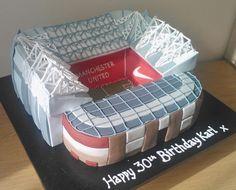 Old Trafford - vanilla sponge style!!! Manchester United birthday cake.