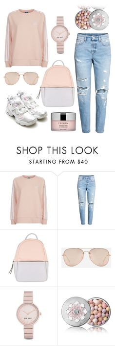 """""""marshmallow"""" by msekaterina ❤ liked on Polyvore featuring adidas Originals, Calvin Klein, CHARLES & KEITH, Nine West, Guerlain, By Terry, Pink, jeans, light and sweaterweather"""