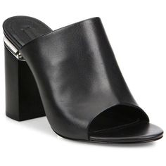 Alexander Wang Avery Leather Block Heeled Mules (9,720 MXN) ❤ liked on Polyvore featuring shoes, alexander wang shoes, leather mule shoes, leather mules, block heel shoes and block heel mules