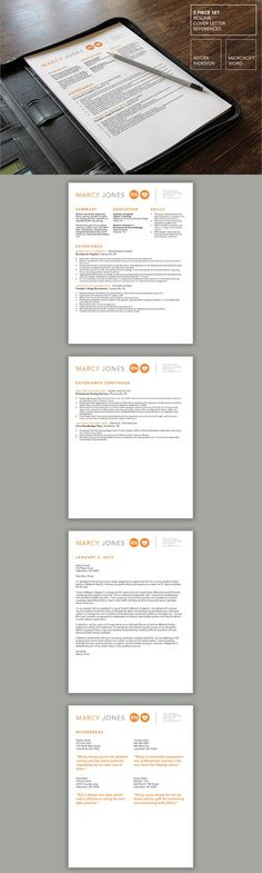 Professional and Modern Resume Template for Word \ Pages The - professional nurse resume template