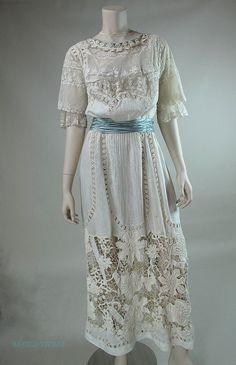 Museum Quality Edwardian Mixed Lace Gown With Irish Crochet from marzillivintage on Ruby Lane
