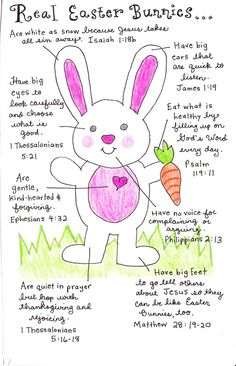 """Real Easter Bunnies tell about the meaning of Easter. This could be adapted into a """"how to draw"""" project for art class"""
