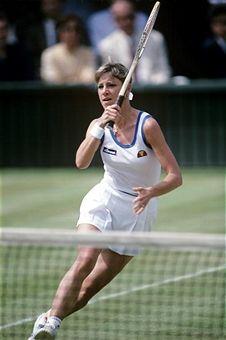 Returning a volley from Martina Navratilova in the 1982 Wimbledon final