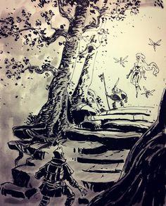 regram @ullikummi #inktober day 21: lady of the forest #inktober2015 #inktober2go