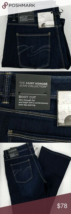 Whitehouse Blackmarket jeans Whitehouse Black Market Contour Bootcut Jeans. The Saint Honore Jean Collection. 73% cotton, 14% rayon, 11% poly, 2% spandex,   30in long, 9in rise. Slim through hip and thigh with a contemporary boot leg opening. White House Black Market Jeans Boot Cut
