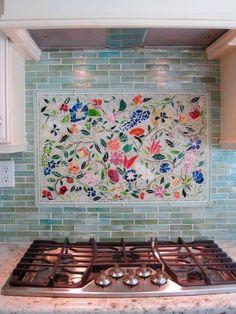 kitchen backsplash trends floral mosaic frame backsplash