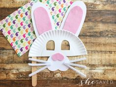 This Easter Bunny Paper Plate Mask is a fun craft perfect for this holiday season! You already have these supplies at home so you can make it anytime!