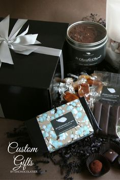 With a wide variety of gift boxes, ribbon colors, and packaging, we can help you create the perfect gift for your needs. Artisan Chocolate, Chocolate Art, Chocolate Caramels, Customized Gifts, Personalized Gifts, Business Gifts, Appreciation Gifts, Ribbon Colors, Handmade Decorations