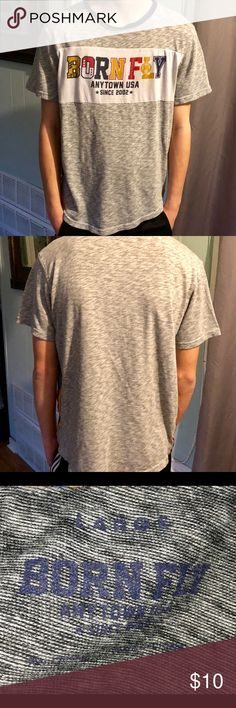 Born Fly Anytown USA 2002 Gray Mens Shirt Size L Used but Great condition  100% cotton Born Fly T-shirt  Men's size L See pictures for details Born Fly Shirts Tees - Short Sleeve