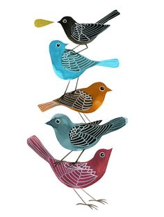 cute little birds in watercolor and acrylic ink.