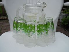Federal Glass VINTAGE 7 Piece Set Drinking by VeiledThroughTime, $40.00